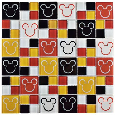 Kitchen Tile Design Ideas Backsplash - disney mickey multi 11 3 4 in x 11 3 4 in x 5 mm glass mosaic tile wdsmky28 the home depot