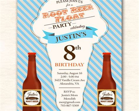 root beer float birthday party invitation