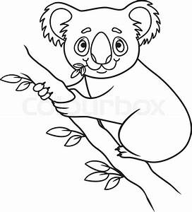 Cartoon koala. coloring book. Vector illustration of cute ...