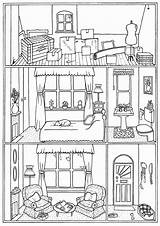Coloring Interior Victorian Colouring Printable Drawing Victorianhouse sketch template
