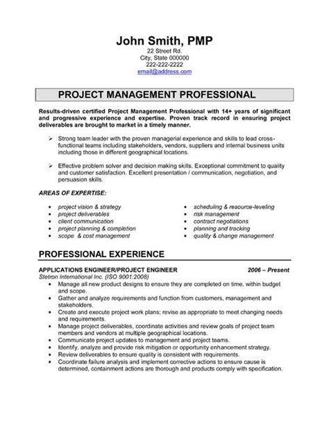 Project Manager Sle Resume Format by Pin By Resumetemplates101 On Best Engineering Resume