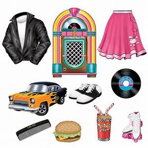 Rock N Roll Deko : 10 1950s grease sock hop party decoration die cut iconic 50 39 s themed cutouts ebay ~ Sanjose-hotels-ca.com Haus und Dekorationen