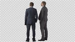 Two Men Standing And Looking For Something. Back View ...