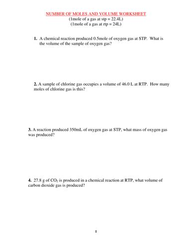 moles and volume worksheet with answers by kunletosin246 teaching resources