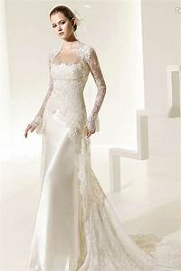 Buy cheap spaghetti lace satin sheath chapel train for Designer satin wedding dresses