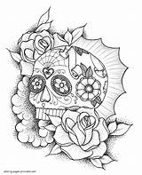Coloring Skull Sugar Printable Rose Muertos Dia Adult Candy Skulls Calaveras Tattoo Catcher Dream Colorear Mandala Colorear24 Owl sketch template