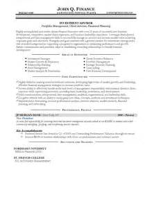 resume summary for financial advisor investment advisor resume exle