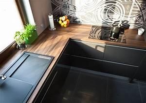 cuisine plan de travail bois cuisine noir laque plan de With meuble ilot central cuisine 15 limplantation de cuisine en u you