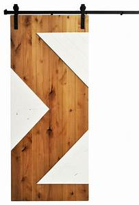 Barn Door and Hardware, Zig Zag, Golden Maple and White