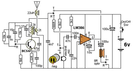 walkie talkie circuit using lm386
