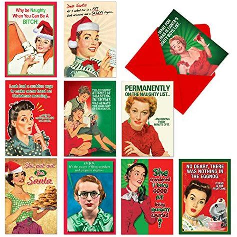 Wholesale custom funny assorted greeting cards, printing bulk blank boxes set happy birthday/merry christmas card with envelopes. NobleWorks A1255 NAUGHTY IS NICE Assorted Hilarious ...