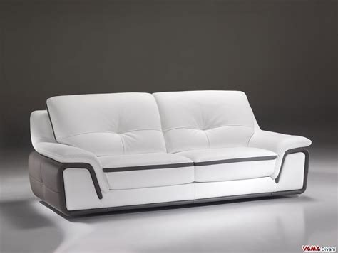 Divano Moderno 180 : Contemporary Sofa In White And Grey Genuine Leather