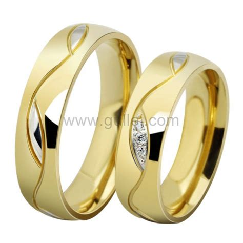 engraved gold plated titanium wedding bands with names personalized couples gifts his