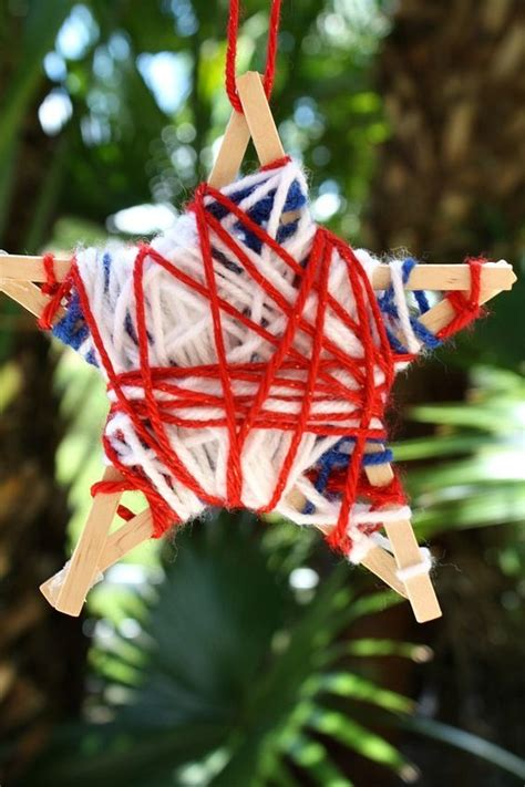 yarn wrapped stars fourth  july craft july crafts