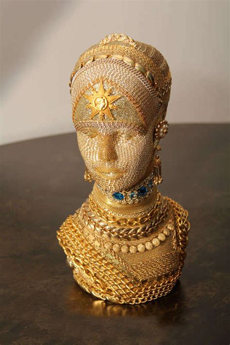 gold chain decorated mannequin head  stdibs