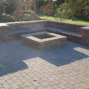 paver patio with fire pit outside pinterest