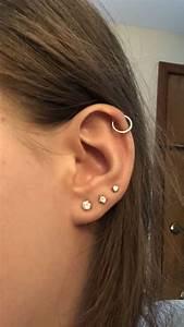 My triple lobe and helix piercing #earpiercingsideas in ...