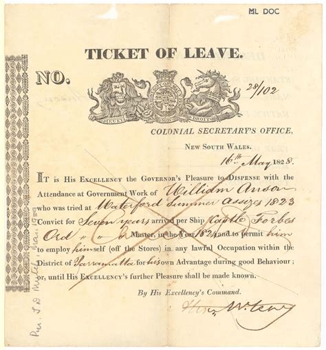 ticket of leave template the convict experience state library of nsw