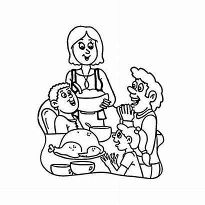Coloring Thanksgiving Around Dinner Canada Happy Pages