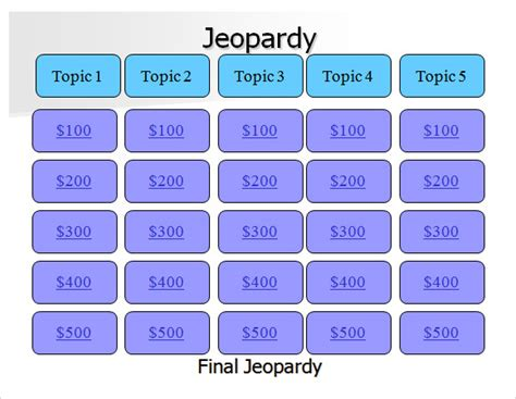 jeopardy powerpoint templates  samples examples