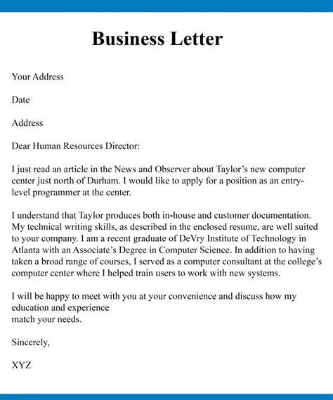 sample business communication letter