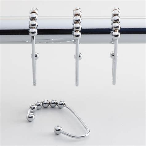 chrome shower curtain roller hooks set of 12 world market