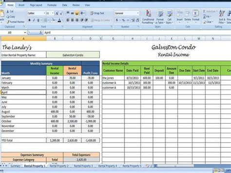 landlords spreadsheet template rent  expenses