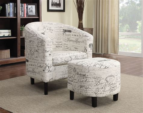 accent chair with ottoman script pattern accent chair with ottoman from