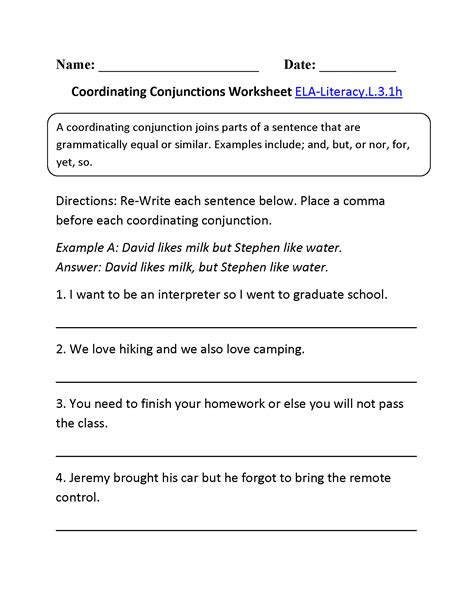 conjunctions worksheets middle school conjunctions best
