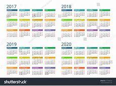Calendar 2017 2018 2019 2020 Vector Stock Vector 417568522