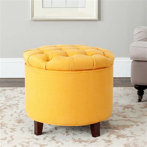 yellow storage ottoman safavieh hudson collection amiela tufted ottoman home