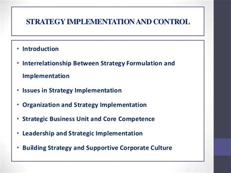 Strategy Implementation and Control