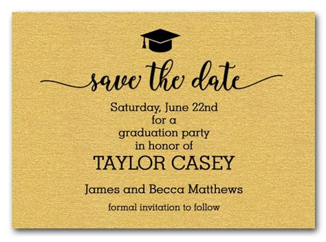 Grad Hat On Shimmery Gold Graduation Save The Date Cards. Free Fitness Flyers Template. Name Tag Labels Template. High School Graduation Party Favors. Template For Work Schedule. Template For Cd Cover. Recommendation Letter For Graduate School. Student Business Card Template. Marketing Strategy Template Ppt
