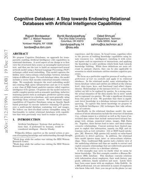 (PDF) Cognitive Database: A Step towards Endowing