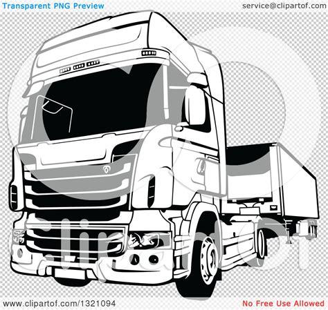 clipart   black  white lorry big rig truck royalty  vector illustration  dero