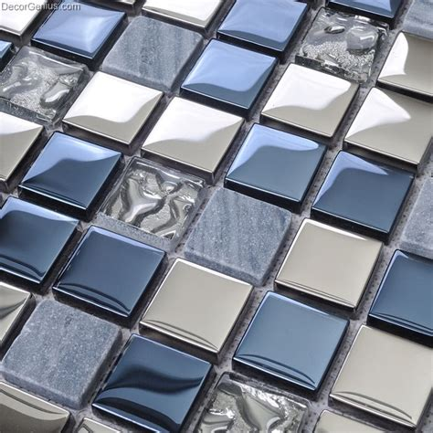 blue silver wall tile blend metal and glass stainless steel mosaic floor backsplash kitchen