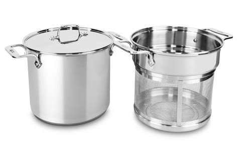 clad stainless steel multi function stock pot  mesh insert  quart cutlery