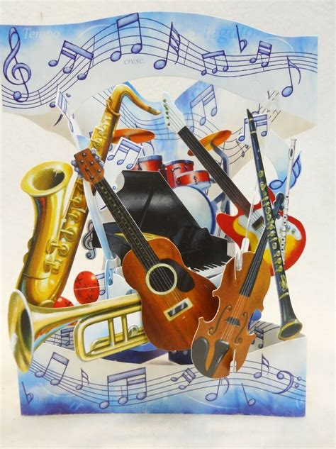 musical instruments greeting card   interactive swing  santoro graphics  ebay