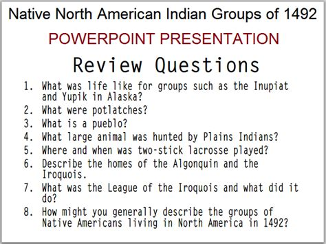 north american indians   powerpoint student handouts