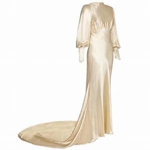 1930s silk satin bias cut ivory wedding dress at 1stdibs With bias cut wedding dress