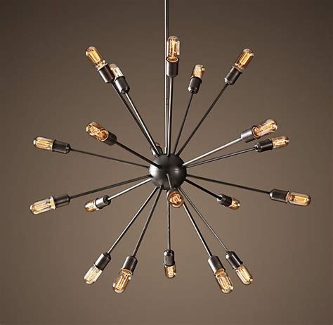 sputnik filament chandelier aged steel large chandeliers