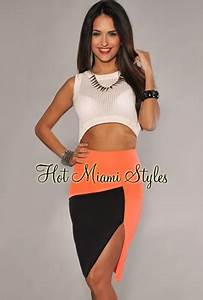 Neon Coral Black Color Block Slit Skirt