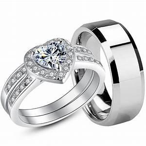 Ring Set Silber : 925 sterling silver cz womens wedding bridal rings set mens tungsten ring ebay ~ Eleganceandgraceweddings.com Haus und Dekorationen