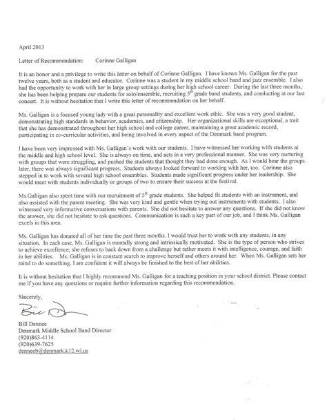Middle School Band Director Resume by Portfolio Corinne Galligan