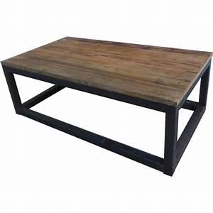 Table Basse Bois Foncé : table basse bois et m tal ~ Teatrodelosmanantiales.com Idées de Décoration