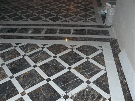 Black Gold Marble Floor Pattern from Ukraine