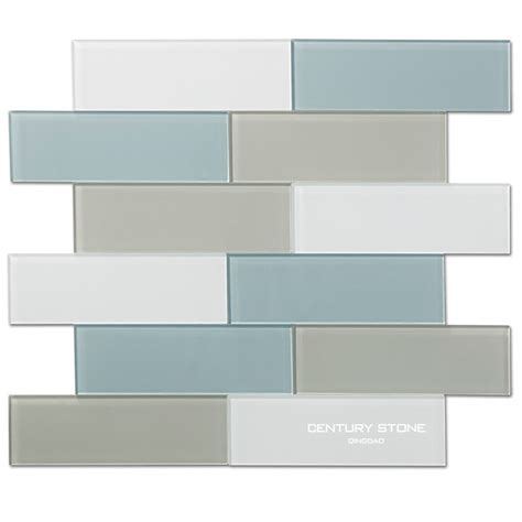 3x8 inch blue gray and white crystay glass tile for