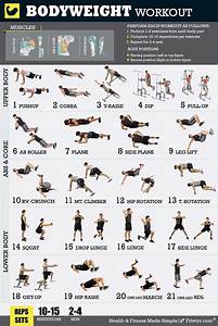 Fitwirr Men U0026 39 S Bodyweight Workout Poster  18 X 24 Total-body Home Workouts Poster For Men