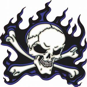 5in x 5in Blue Flame Skull Bumper Sticker Car Vinyl Truck ...