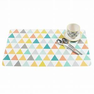 Set De Table Plastique : set de table motif triangles multicolores ~ Premium-room.com Idées de Décoration